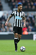 Jamaal Lascelles (#6) of Newcastle United on the ball during the Premier League match between Newcastle United and Huddersfield Town at St. James's Park, Newcastle, England on 31 March 2018. Picture by Craig Doyle.