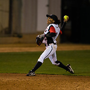 15 February 2018: The San Diego State softball team hosts #25 Kentucky to open up the 28th annual Campbell/Cartier Classic. San Diego State outfielder Zaria Meshack (2) throws home on a short pop up over the drawn in infield in the fourth inning. The Aztecs lost to the Wildcats 5-0.<br /> More game action at www.sdsuaztecphotos.com