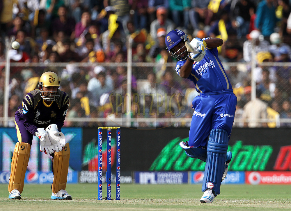 Sanju Samson of the Rajasthan Royals plays a shot during match 25 of the Pepsi Indian Premier League Season 2014 between the Rajasthan Royals and the Kolkata Knight Riders held at the Sardar Patel Stadium, Ahmedabad, India on the 5th May  2014<br /> <br /> Photo by Vipin Pawar / IPL / SPORTZPICS      <br /> <br /> <br /> <br /> Image use subject to terms and conditions which can be found here:  http://sportzpics.photoshelter.com/gallery/Pepsi-IPL-Image-terms-and-conditions/G00004VW1IVJ.gB0/C0000TScjhBM6ikg