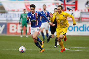 Carlisle United Forward Alex Gilliead  on the attack during the Sky Bet League 2 match between Carlisle United and Bristol Rovers at Brunton Park, Carlisle, England on 28 March 2016. Photo by Craig McAllister.