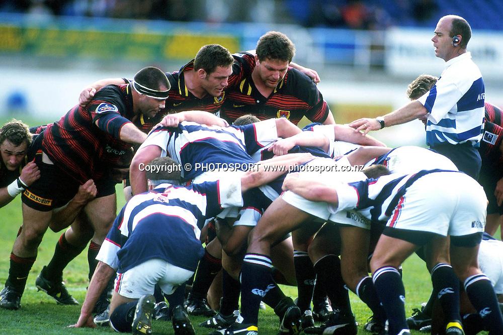 Canterbury prepare to scrum down, Canterbury RFU v Auckland, Air NZ Cup NPC Rugby Union. 1998. Photo: Scott Barbour/PHOTOSPORT