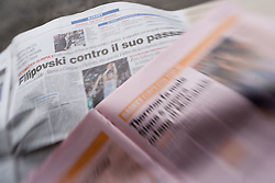 Basketball pages of newspapers Corriere dello Sport and  La Gazzeta  dello Sport, on January 20, 2011 in Rome, Italy. (Photo By Vid Ponikvar / Sportida.com)