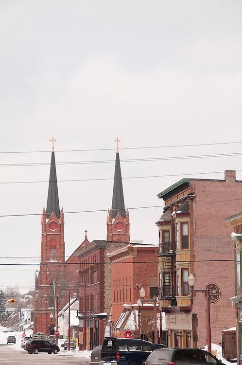 Downtown street scenes in Calumet Michigan.