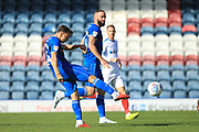 Ollie Rathbone shoots during the EFL Sky Bet League 1 match between Rochdale and Portsmouth at Spotland, Rochdale, England on 29 September 2018.