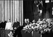 The State Funeral of Sir Alfred Chester Beatty at St. Patrick's Cathedral, Dublin. President Eamon de Valera, An Taoiseach Jack Lynch and Minister for External Affairs, Frank Aiken, inside the Cathedral.<br /> 29.01.1968