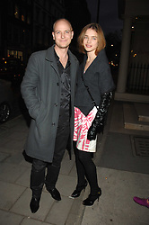 The HON.JUSTIN PORTMAN and his wife NATALIA VODIANOVA at an exhibition of paintings by artist Rene Richard at the Scream Gallery, Bruton Street, London on 3rd April 2008.<br />