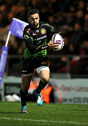 Exeter Chiefs' Full Back, Phil Dollman breaks free  - Photo mandatory by-line: Joe Meredith/JMP - Mobile: 07966 386802 - 24/01/2015 - SPORT - Rugby - Exeter - Sandy Park Stadium - Exeter Chiefs v Bayonne - Challenge Cup Round 6