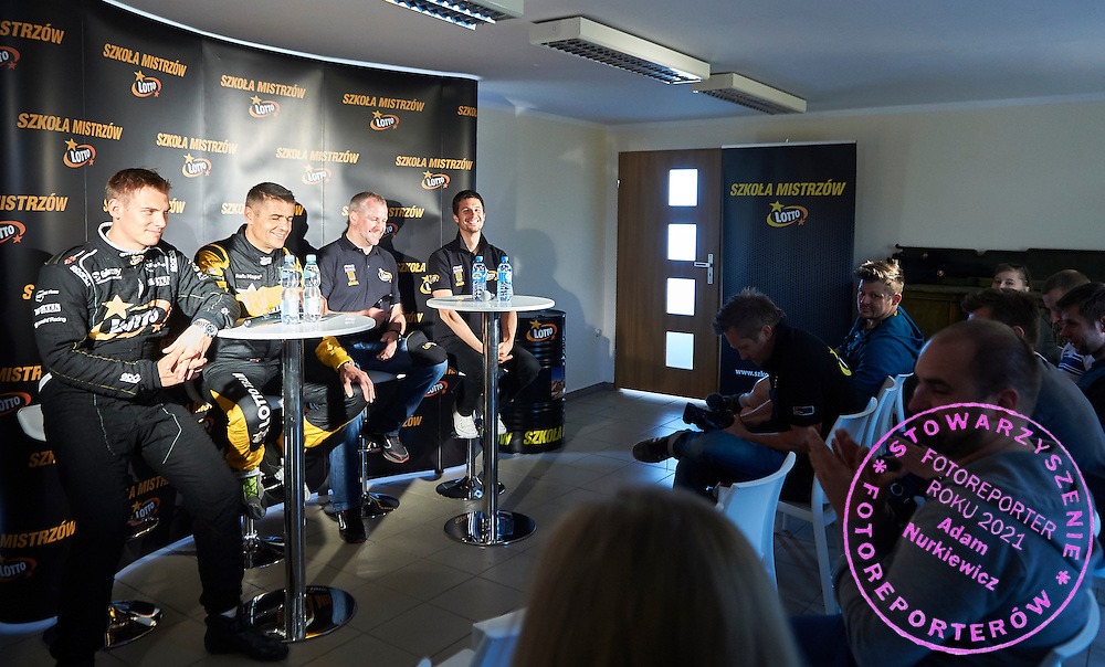 Drivers (L-R) Krzysztof Holowczyc and Martin Kaczmarski and Jaroslaw Kazberuk and Robin Szustkowski all from Poland while press conference during training session on rally cross track on May 19, 2015 in Slomczyn, Poland<br /> <br /> Poland, Slomczyn, May 19, 2015<br /> <br /> Picture also available in RAW (NEF) or TIFF format on special request.<br /> <br /> For editorial use only. Any commercial or promotional use requires permission.<br /> <br /> Adam Nurkiewicz declares that he has no rights to the image of people at the photographs of his authorship.<br /> <br /> Mandatory credit:<br /> Photo by &copy; Adam Nurkiewicz / Mediasport