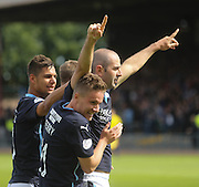 Dundee's Gary Harkins is congratulated after scoring by Luka Tankulic and Simon Ferry - Dundee v Kilmarnock - SPFL Premiership at Dens Park<br /> <br />  - &copy; David Young - www.davidyoungphoto.co.uk - email: davidyoungphoto@gmail.com