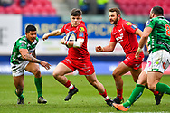 Scarlets' Steff Evans in action during todays game<br /> <br /> Photographer Simon King/Replay Images<br /> <br /> EPCR Champions Cup Round 3 - Scarlets v Benetton Rugby - Saturday 9th December 2017 - Parc y Scarlets - Llanelli<br /> <br /> World Copyright © 2017 Replay Images. All rights reserved. info@replayimages.co.uk - www.replayimages.co.uk