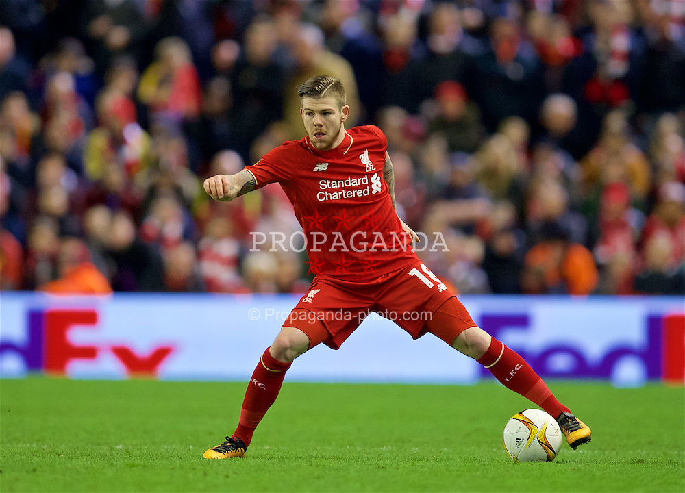 LIVERPOOL, ENGLAND - Thursday, March 10, 2016: Liverpool's Alberto Moreno in action against Manchester United during the UEFA Europa League Round of 16 1st Leg match at Anfield. (Pic by David Rawcliffe/Propaganda)