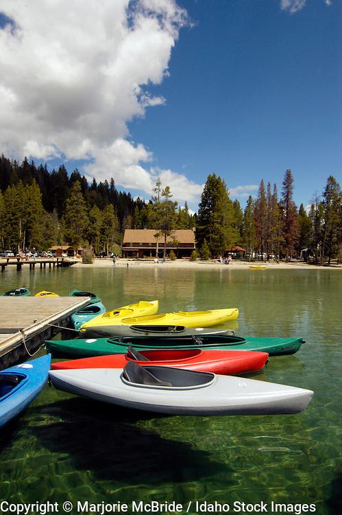 Colorful kayaks on Red Fish Lake, Stanley, Idaho.