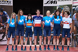 Movistar Women's Team are presented to the crowds at Giro Rosa 2018 - Team Presentation in Verbania, Italy on July 5, 2018. Photo by Sean Robinson/velofocus.com