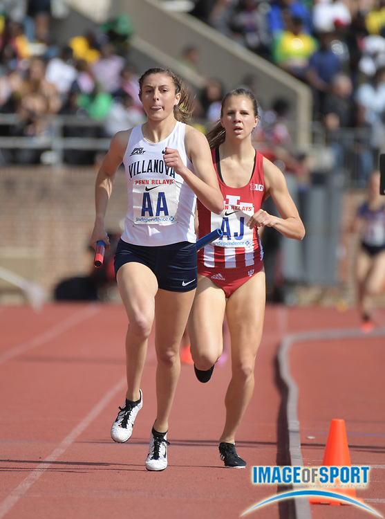 Apr 28, 2018; Philadelphia, PA, USA; McKenna Keegan runs the third leg of the Villanova women's 4 x 800m relay that won the Championship of America race in 8:19.98 during the 124th Penn Relays at Franklin Field.