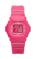 Casio Baby-G pink digital watch on white background