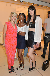 Left to right, PIPS TAYLOR, singer AZEALIA BANKS and LILAH PARSONS at the French Connection #NeverMissATrick Launch Party held at French Connection, 396 Oxford Street, London on 23rd July 2014.