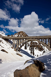 Donner Pass Road Bridge with snow, part of historic route US Hwy 40, Donner Pass, California, United States of America