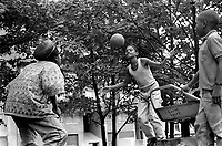 Group of Afro-Caribbean children playing on an estate in South london
