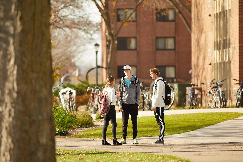 Activity; Talking; Location; Outside; People; Student Students; Fall; November; Type of Photography; Candid; UWL UW-L UW-La Crosse University of Wisconsin-La Crosse