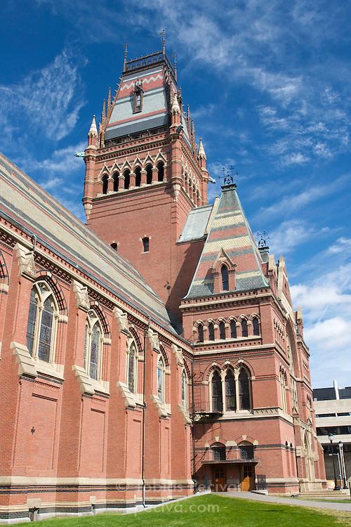Wide-angle view of the Harvard Memorial Hall, on the Harvard University campus. Cambridge, Massachusetts.