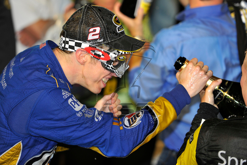 Homestead, FL - Nov 18, 2012: Brad Keselowski (2) reacts after winning the 2012 Nascar Sprint Championship at the Homestead-Miami Speedway in Homestead, FL.