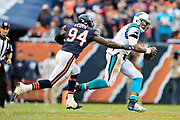 CHICAGO, IL - OCTOBER 22:  Leonard Floyd #94 of the Chicago Bears chases down and tackles Cam Newton #1 of the Carolina Panthers at Soldier Field on October 22, 2017 in Chicago, Illinois.  The Bears defeated the Panthers 17-3.  (Photo by Wesley Hitt/Getty Images) *** Local Caption *** Leonard Floyd; Cam Newton