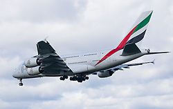 Heathrow Airport, London, March 28th 2016. An Emirates Airbus A380 reg A6-EDI about to land on runway 27L at London Heathrow.<br /> &copy;Paul Davey