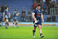 Kyle Traynor (Bristol) leaves the field dejected after the match - Photo mandatory by-line: Patrick Khachfe/JMP - Tel: Mobile: 07966 386802 28/05/2014 - SPORT - RUGBY UNION - Kassam Stadium, Oxford - London Welsh v Bristol Rugby - Greene King IPA Championship.