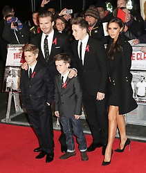 © Licensed to London News Pictures. FILE PICTURE. Romeo Beckham, David Beckham, Cruz Beckham, Brooklyn Beckham and  Victoria Beckham attend The Class of 92  World Film Premiere at The Odeon West End, Leicester Square, London on 01 December 2013. Bookmakers have suspended bets on the celebrity couple getting a divorce.  Photo credit: Richard Goldschmidt/LNP