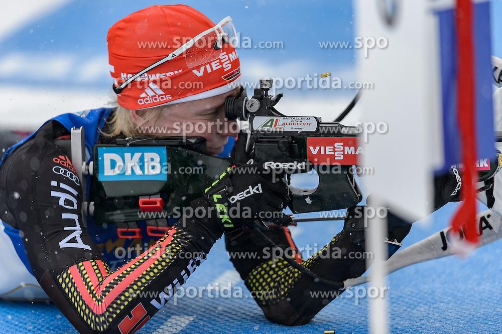 17.02.2017, Biathlonarena, Hochfilzen, AUT, IBU Weltmeisterschaften Biathlon, Hochfilzen 2017, Staffel Damen, im Bild Franziska Hildebrand (GER) // Franziska Hildebrand of Germany during Womens relay of the IBU Biathlon World Championships at the Biathlonarena in Hochfilzen, Austria on 2017/02/17. EXPA Pictures © 2017, PhotoCredit: EXPA/ Stefan Adelsberger
