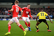 Nottingham Forest forward, on loan from Aston Villa, Ross McCormack (50) looks to pass the ball to Nottingham Forest midfielder Ben Osborn (11) during the EFL Sky Bet Championship match between Burton Albion and Nottingham Forest at the Pirelli Stadium, Burton upon Trent, England on 11 March 2017. Photo by Jon Hobley.