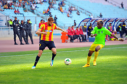 May 12, 2017 - Rades, Tunisia - Fakhreddine Ben Youssef(L) of (EST) and Mutamba Lomalisa (13)l of the Vita club during the First day of the group stage of the Champions League  2017 Total  between Esperance Sportive de Tunis (EST) and the formation of AS Vita Club (RD Congo) at the Rades stadium..The Esperance Sportive de Tunis (EST) won by 3/1. (Credit Image: © Chokri Mahjoub via ZUMA Wire)