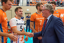 08-09-2018 NED: Netherlands - Argentina, Ede<br /> Second match of Gelderland Cup / Wessel Keemink #2 of Netherlands, Dirk Sparidans #5 of Netherlands, Gelders gedeputeerde Jan Markink