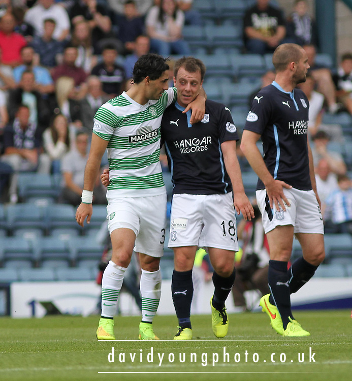 Celtic's Celtic's Biram Kayal and Dundee's Paul McGowan share a laugh - Dundee v Celtic SPFL Premiership at Dens Park<br /> <br />  - &copy; David Young - www.davidyoungphoto.co.uk - email: davidyoungphoto@gmail.com