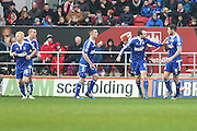 Ipswich players celebrate Brett Pitmans goal during the Sky Bet Championship match between Bristol City and Ipswich Town at Ashton Gate, Bristol, England on 13 February 2016. Photo by Shane Healey.