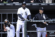CHICAGO - APRIL 01:  First base coach Daryl Boston #17 of the Chicago White Sox looks on against the Kansas City Royals on April 1, 2013 at U.S. Cellular Field in Chicago, Illinois.  The White Sox defeated the Royals 1-0.  (Photo by Ron Vesely)   Subject: Daryl Boston
