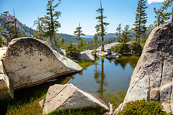 """Pond in the Tahoe Back Country 1"" - Photograph of a little pond with a great vista view, shot near Paradise Lake."