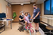Ruth Evelyn Pranke goes in for an orthotic adjustment for her adaptive bicycle at the Gillette Phalen Clinic in Saint Paul, Minnesota on Tuesday, June 16, 2020.