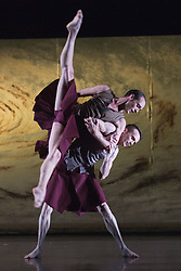 """© Licensed to London News Pictures. 18/11/2014. London, England. Luke Ahmet and Adam Blyde performing Terra Incognita choreographed by Shobana Jeyasingh. British dance company """"Rambert"""" perform their new show """"Triptych"""" at Sadler's Wells Theatre from 18 to 22 November 2014. Choreographed by Shobana Jeyasingh with Luke Ahmet, Lucy Balfour, Adam Blyde, Carolyn Bolton, Simone Damberg Würtz, Dane Hurt, Vanessa King, Adam Park, Hannah Rudd and Pierre Tappon dancing. Photo credit: Bettina Strenske/LNP"""