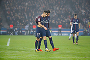 Yuri Berchiche (PSG) scored a goal against Remy VERCOUTRE (SM Caen) and celebrated it with Julian Draxler (PSG) during the French Championship Ligue 1 football match between Paris Saint-Germain and SM Caen on December 20, 2017 at Parc des Princes stadium in Paris, France - Photo Stephane Allaman / ProSportsImages / DPPI