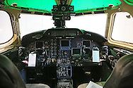 The cockpit of the Sabreliner 50 in the hanger as current and former Rockwell Collins employees say goodbye to their Sabreliner 50 test aircraft at the Eastern Iowa Airport on Wednesday, January 23, 2013.
