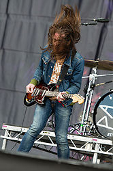 © Licensed to London News Pictures. 23/08/2014. Reading, UK.   Pulled Apart By Horses performing live at Reading Festival 2014 on Saturday Day 2.  In this picture - Tom Hudson.   Photo credit : Richard Isaac/LNP