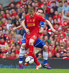 27.04.2014, Anfield, Liverpool, ENG, Premier League, FC Liverpool vs FC Chelsea, 36. Runde, im Bild Liverpool's Lucas Leiva in action against Chelsea's Frank Lampard // during the English Premier League 36th round match between Liverpool FC and Chelsea FC at Anfield in Liverpool, Great Britain on 2014/04/27. EXPA Pictures &copy; 2014, PhotoCredit: EXPA/ Propagandaphoto/ David Rawcliffe<br /> <br /> *****ATTENTION - OUT of ENG, GBR*****