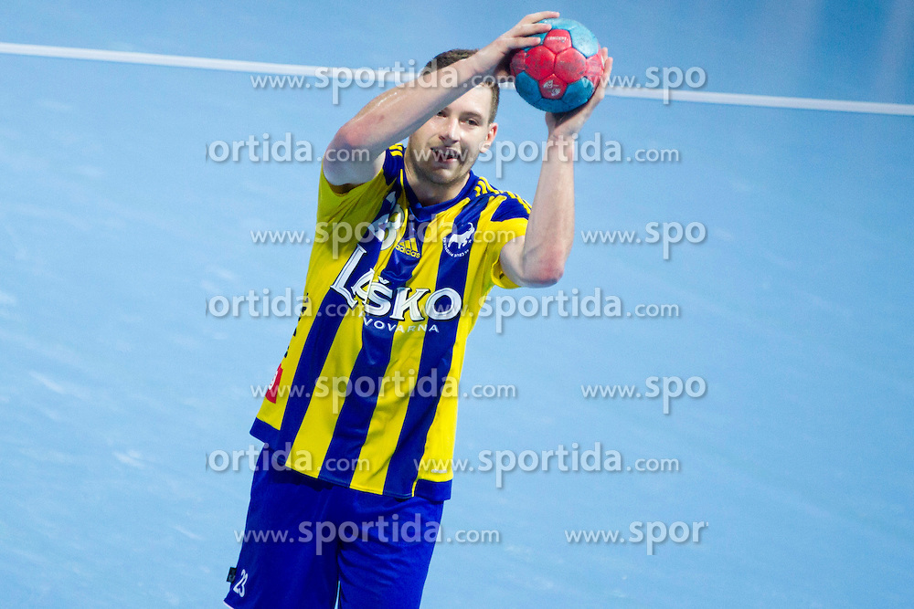 Miha Zarabec #23 of RK Celje Pivovarna Lasko during handball match between RK Celje Pivovarna Lasko vs RK Gorenje Velenje of Super Cup 2015, on August 29, 2015 in SRC Marina, Portoroz / Portorose, Slovenia. Photo by Urban Urbanc / Sportida