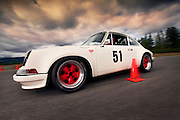 Image of a 1972 Porsche 911 ST autocrossing in Bremerton, Washington, Pacific Northwest, model and property released