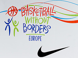 Logo of BWB Europe at Basketball Without Borders Europe for prospects under 17 with best coaches and some NBA legends on August 8, 2011, in Hala Tivoli, Ljubljana, Slovenia. (Photo by Matic Klansek Velej / Sportida)