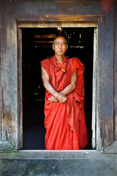 71-year-old Burmese monk at his monastery in Mandalay, Myanmar