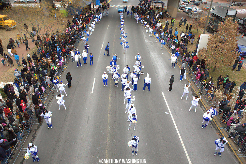 Members of the New Edition Marching Band performs during the Dr. Martin Luther King, Jr. Parade in Baltimore, MD on Monday, January 17, 2011.