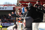 FGR fans celebrate the equaliser during the EFL Sky Bet League 2 match between Accrington Stanley and Forest Green Rovers at the Wham Stadium, Accrington, England on 17 March 2018. Picture by Shane Healey.