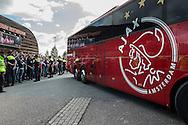 ROTTERDAM, Feyenoord - Ajax, voetbal Eredivisie, seizoen 2014-2015, 21-09-2014, Stadion de Kuip, de bus met Ajax spelers en staf arriveert bij de Kuip.
